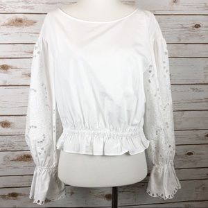Maeve from Anthropologie Crop White Blouse Lace S